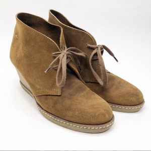 J. Crew Wedge Tan Suede Oxford Bootie